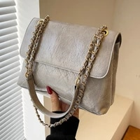rhomboid print fashion crossbody bags for woman solid soft pu leather shoulder bag chain handle elegant all match squre handbags