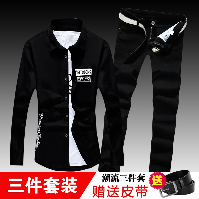 New Spring Autumn Mens Long Sleeve Shirt Casual Jeans Pencil Pants Lapel Collar Male Shirts Straight trousers Casual 2pcs Set F5 women jeans f5 285005