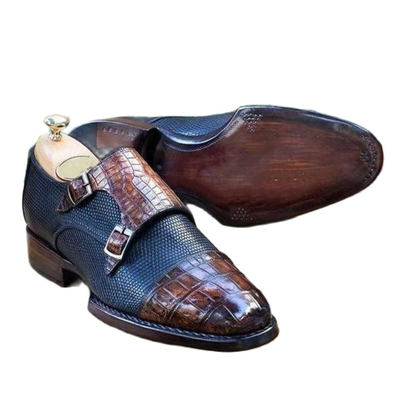 Men Dress Shoes Handmade Pu Leather Buckle Strap Slip-on Monk Business Shoes Male Fashion Classic Za