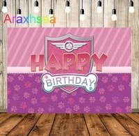 dog paw birthday backdrop for girl pilot pink shield bone lets fly to the sky photography background kids party decorations