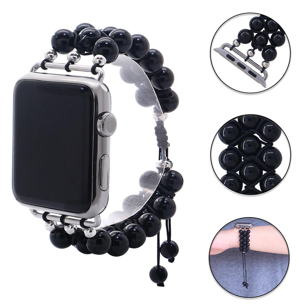 Correa de reloj Lureen Hematita Natural Apple 5/4 38mm 44mm, correa de relojes de perlas negra hecha a mano para iwatch 3 2 1 pulsera