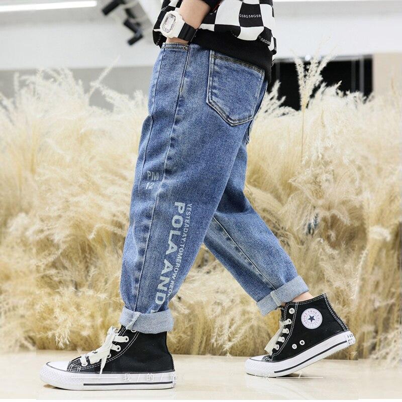 IENENS  Kids Jeans Autumn Cowboy Trousers 4-11 Years Fashion Boy's Clothes Children Casual Jeans Boys Denim Pants