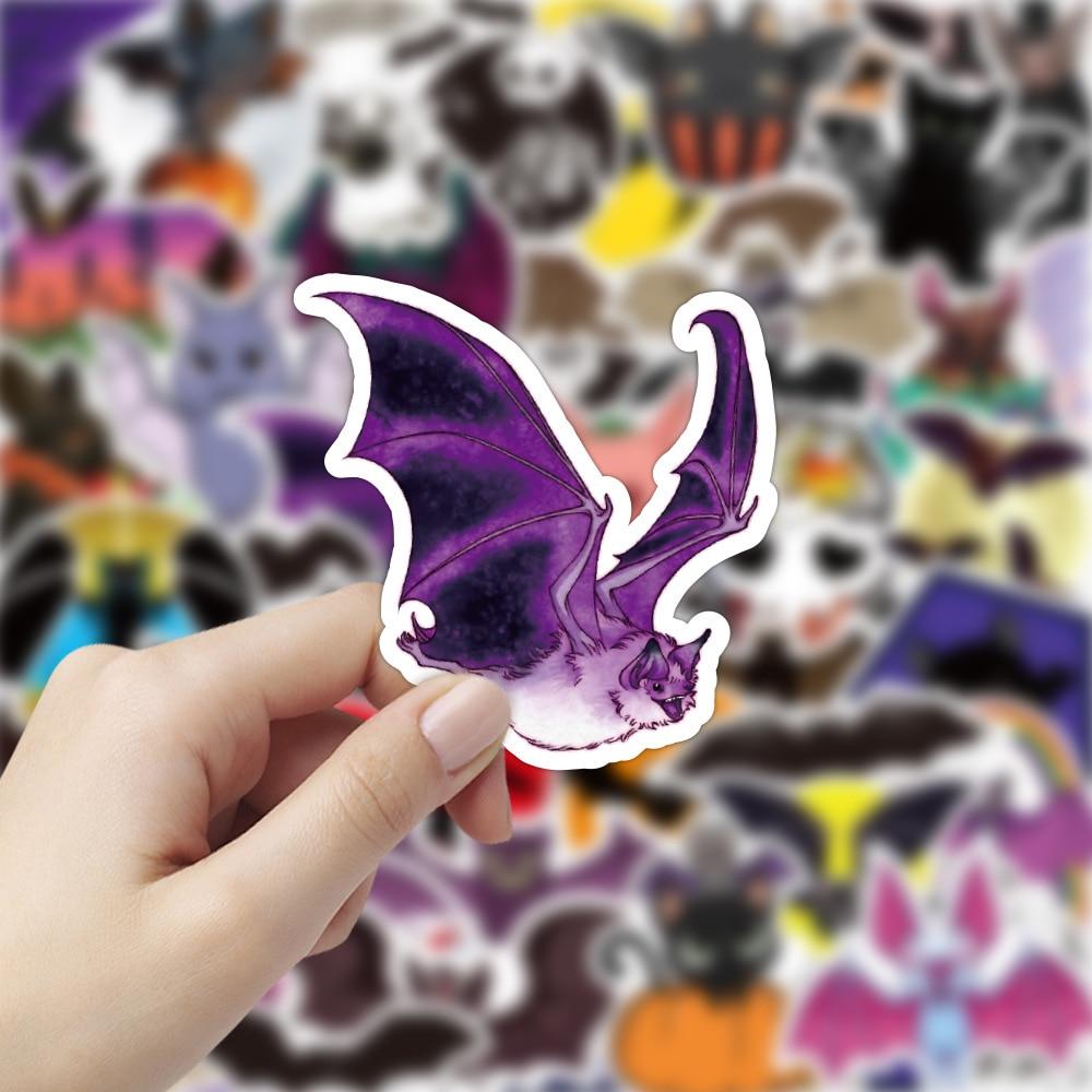 50PCS Animal Bat Chiroptera Stickers Halloween Decoration Decal for DIY Stationery Laptop Suitcase Skateboard Waterproof Sticker