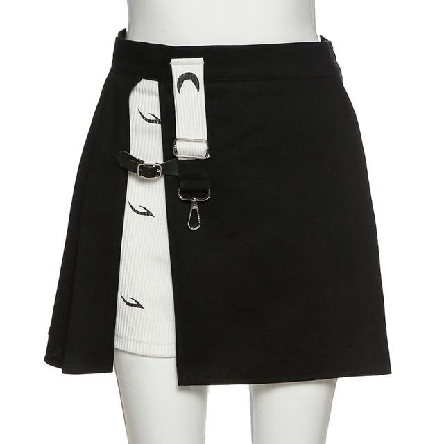 Y2K women's mini skirt, open print, high waist, black, punk style,  woman skirts  women clothes 8