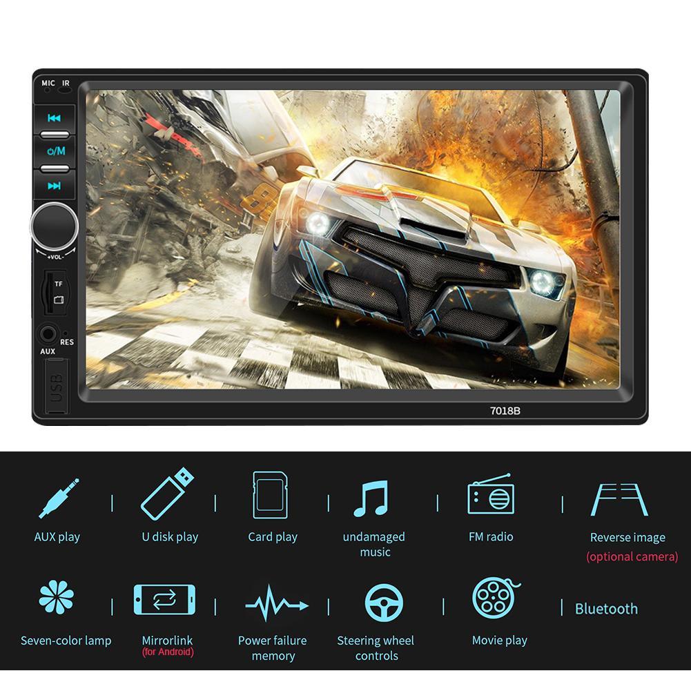 7 pulgadas Bluetooth V2.0 doble 7018B 2 DIN coche FM Radio Estéreo reproductor MP5 pantalla táctil reproductor MP5 USB SD MMC FM