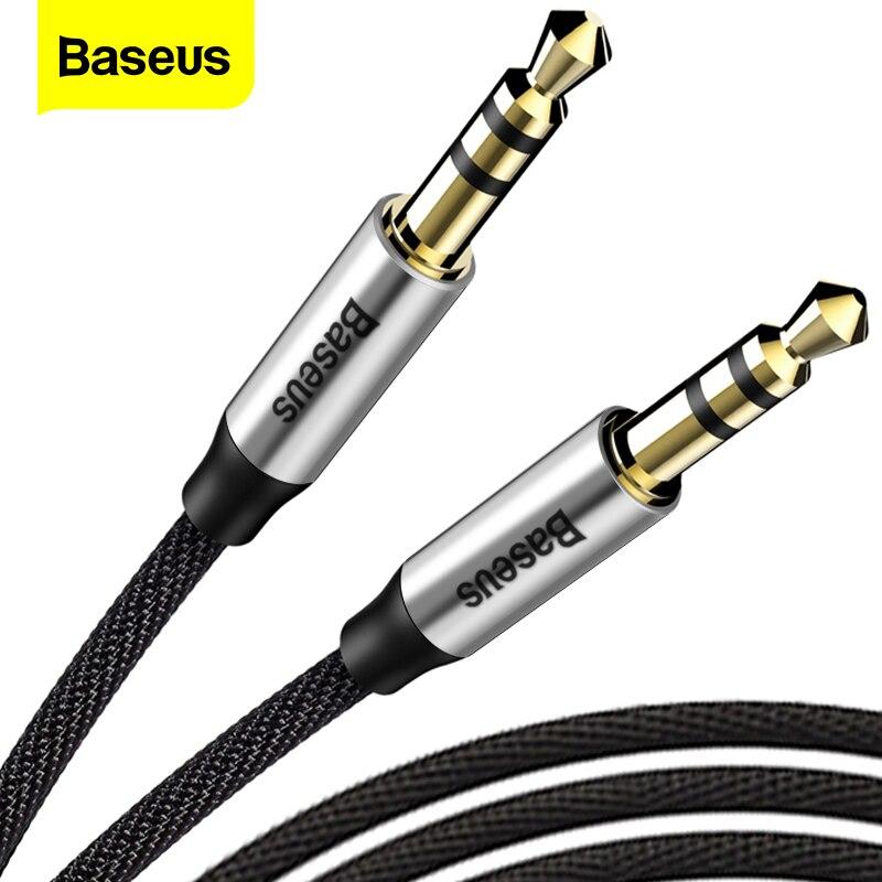 Аудиокабель Baseus с разъемом 3,5 мм, звуковой кабель с двумя штекерами, звуковой AUX кабель для Samsung S10, автомобильный AUX провод для наушников и кол...