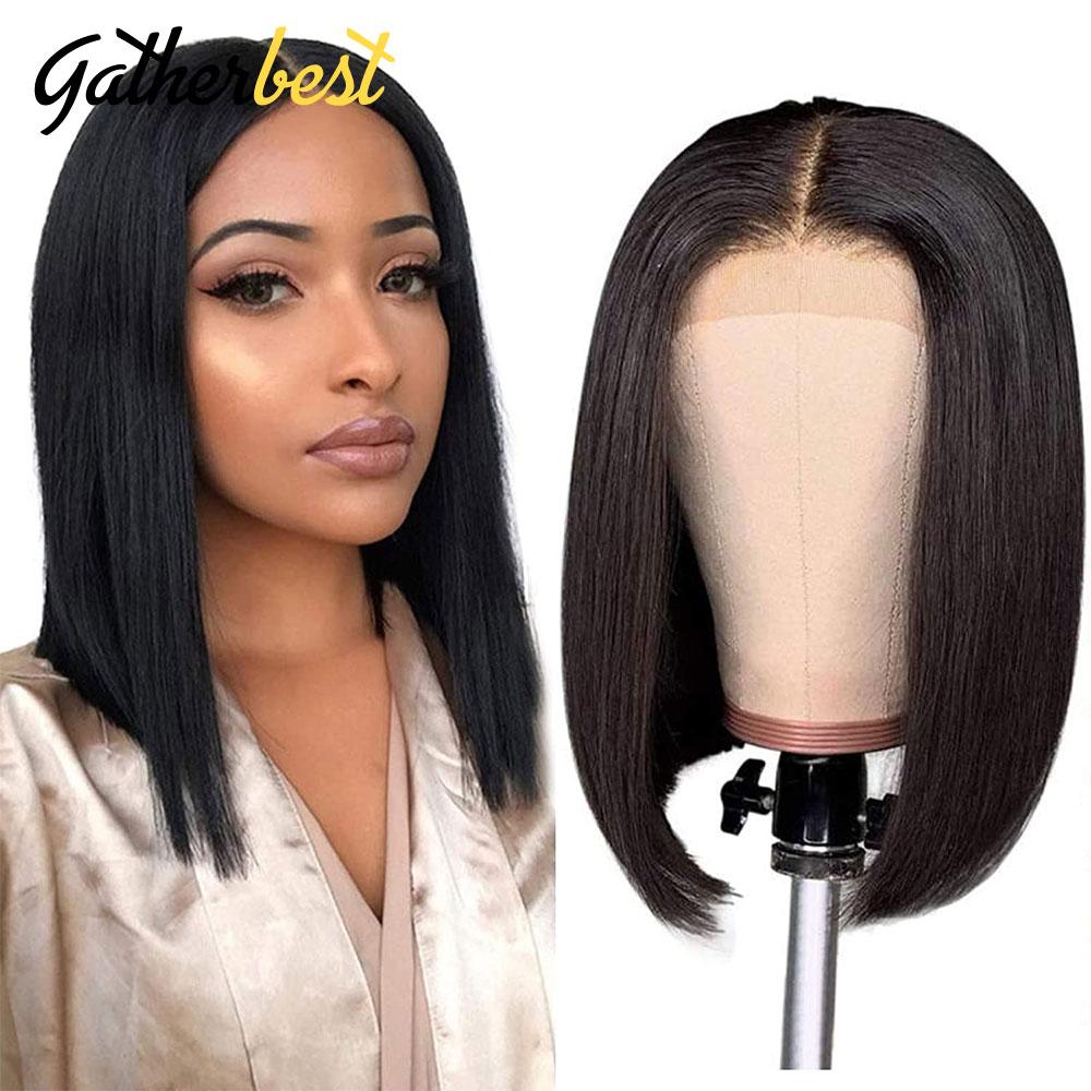 Short Bob Lace Front Wigs Straight Human Hair lace frontal wigs 4x4 Lace Closure Front Wigs For Black Women Pre Plucke