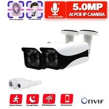 Двухсторонняя аудио H.265 POE IP Камера Наблюдения HD 5.0MP 2592*1944P XMEye ONVIF P2P обнаружение движения и лица RTSP DC12V и 48V