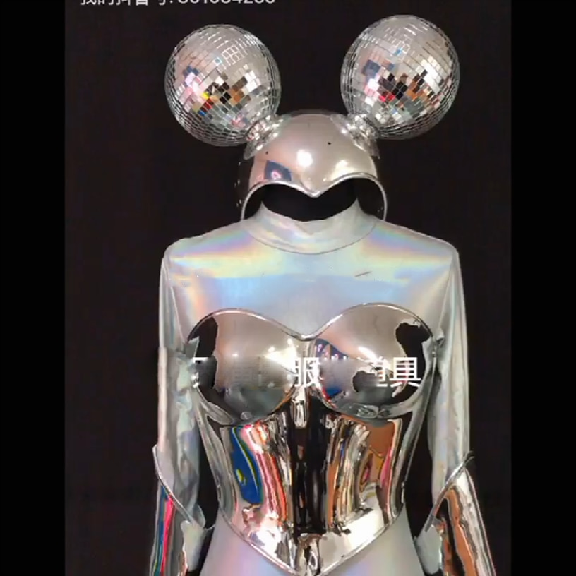 التكنولوجيا مرآة فضية ميكي تأثيري حلي الملابس المستقبلية ملهى ليلي بار ملابس الرقص