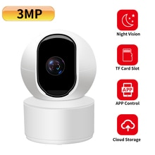 N_eye-caméra de sécurité domestique   Caméra wifi HD 3 mp, fente de carte SD audio 2 voies, caméra ip intérieure, caméra de Surveillance CCTV 15M IR