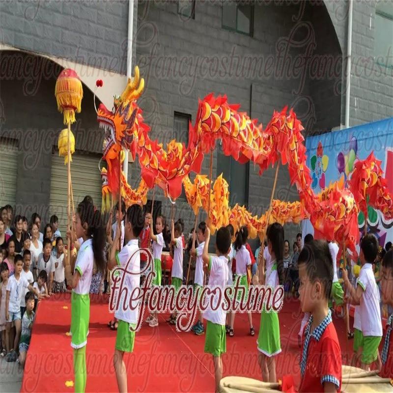 Kid 3.1m Silk  Dragon Dance Costume 4 Players Children Student School Halloween Party Event Performance Parade Folk Stage  China