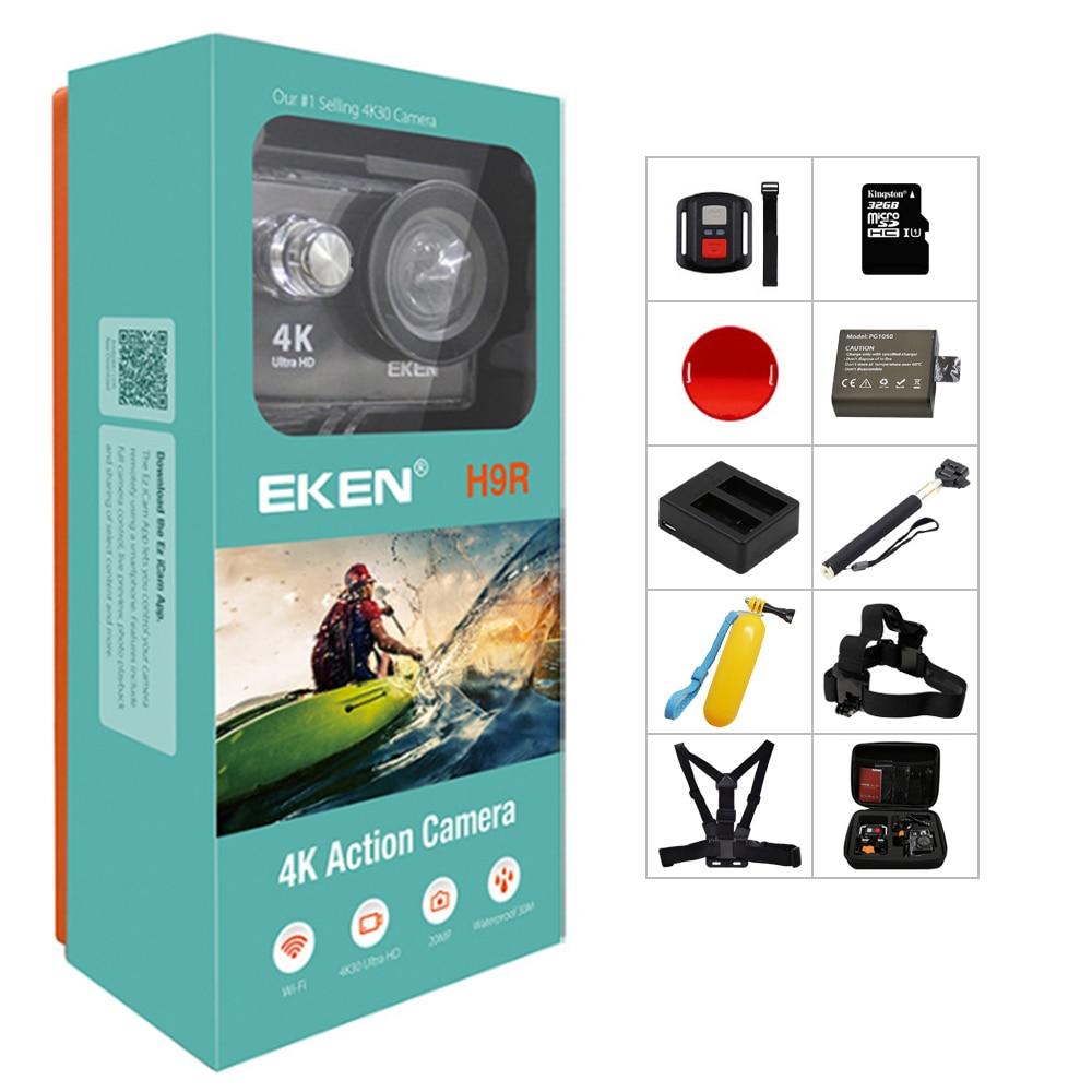 الأصلي EKEN H9/H9R عمل كاميرا 4K الترا HD 1080p/60fps خوذة صغيرة كام واي فاي الذهاب مقاوم للماء برو الرياضة كاميرا بطل 7 يي 4k