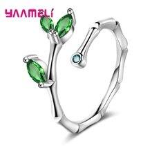 Creative véritable argent 925 bambou ouvert réglable bagues avec vert CZ pour les femmes pour les femmes en argent Sterling bijoux cadeau