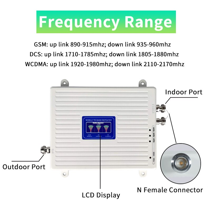 Cellular Repeater GSM DCS WCDMA 900 1800 2100 Tri Band 2G 3G 4G Signal Booster  Mobile Signal Amplifier 2 Indoor Antennas Set enlarge
