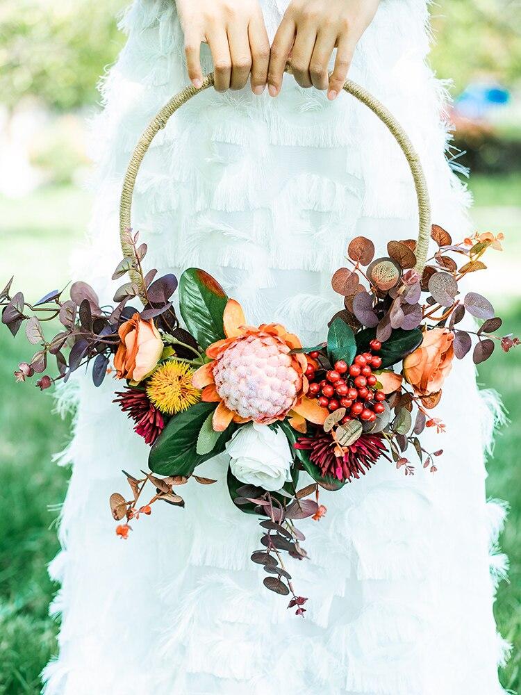 SESTHFAR-إكليل زهور اصطناعية عتيق ، باقات زهور الزفاف ، إكليل دائري محمول ، زهور الورد