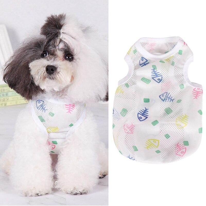 Chaleco de verano para perro Camisa estampada mascota pequeño perro gato mascota ropa chaleco cachorro algodón transpirable camiseta abrigo perro verano disfraces Lj