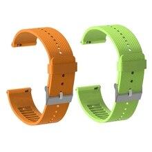 2 Pcs 20Mm Silicone Watch Band Bracelet Strap for Polar Ignite Smartwatch Accessories Watch Strap Wristband, Green & Orange