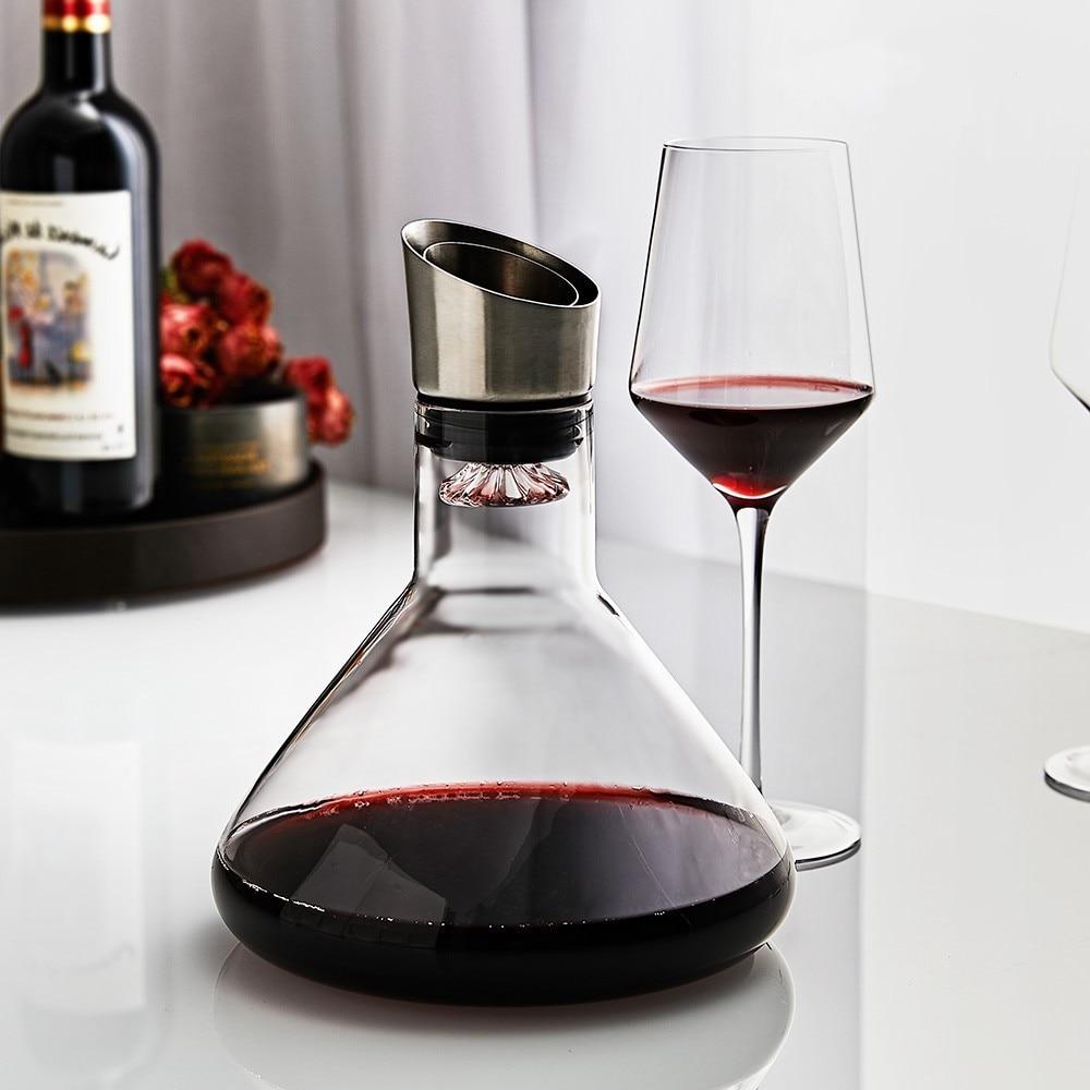 دورق نبيذ سريع التنفس مع مهوية من الفولاذ المقاوم للصدأ ، دورق نبيذ من الزجاج البني يدويًا 100% ، للنبيذ الأحمر