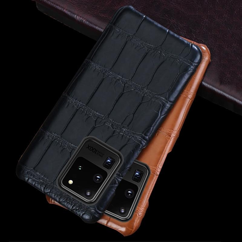 LANGSIDI Crocodile Original Luxury phone case For samsung Galaxy s20 ultra S20plus s20FE a51 a71 s21 ultra Genuine leather cover