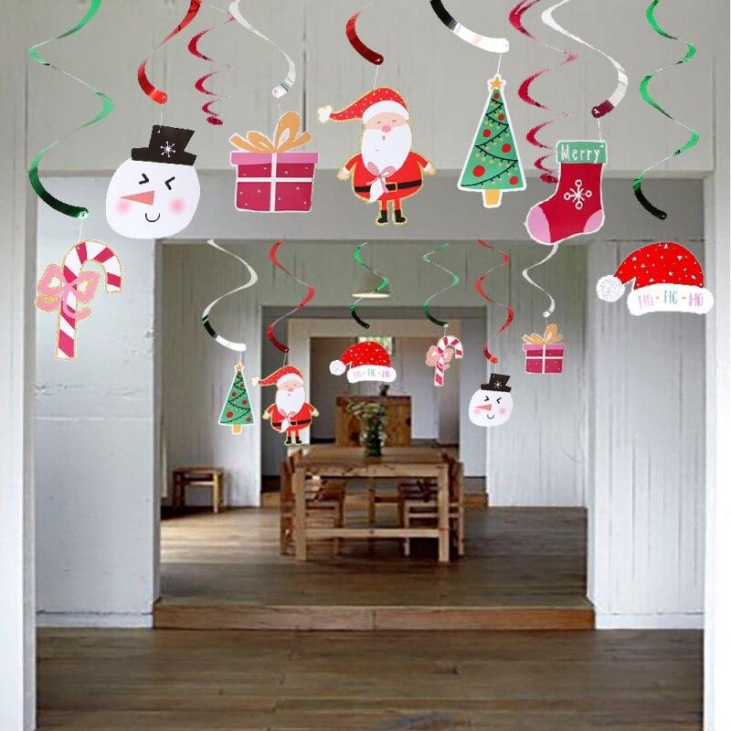 Decoración navideña en espiral de colgar, serpentinas en espiral para el techo de Feliz Navidad, guirnalda de remolino, suministros para triangulación de envíos