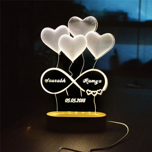 Personalized Name Date 3D Illusion Night Light Heart Shape Custom Names Acrylic LED Lamp For Couples Decorative Lights