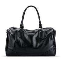 weysfor male leather travel bag large duffle independent shoes storage big fitness bags handbag bag luggage shoulder bag black