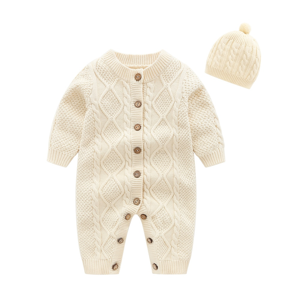 AliExpress - Baby Rompers Knitted Autumn Winter Long Sleeve Infant Boys Girls Jumpsuits Playsuits One Piece Children's Sweaters Outfits 0-24M