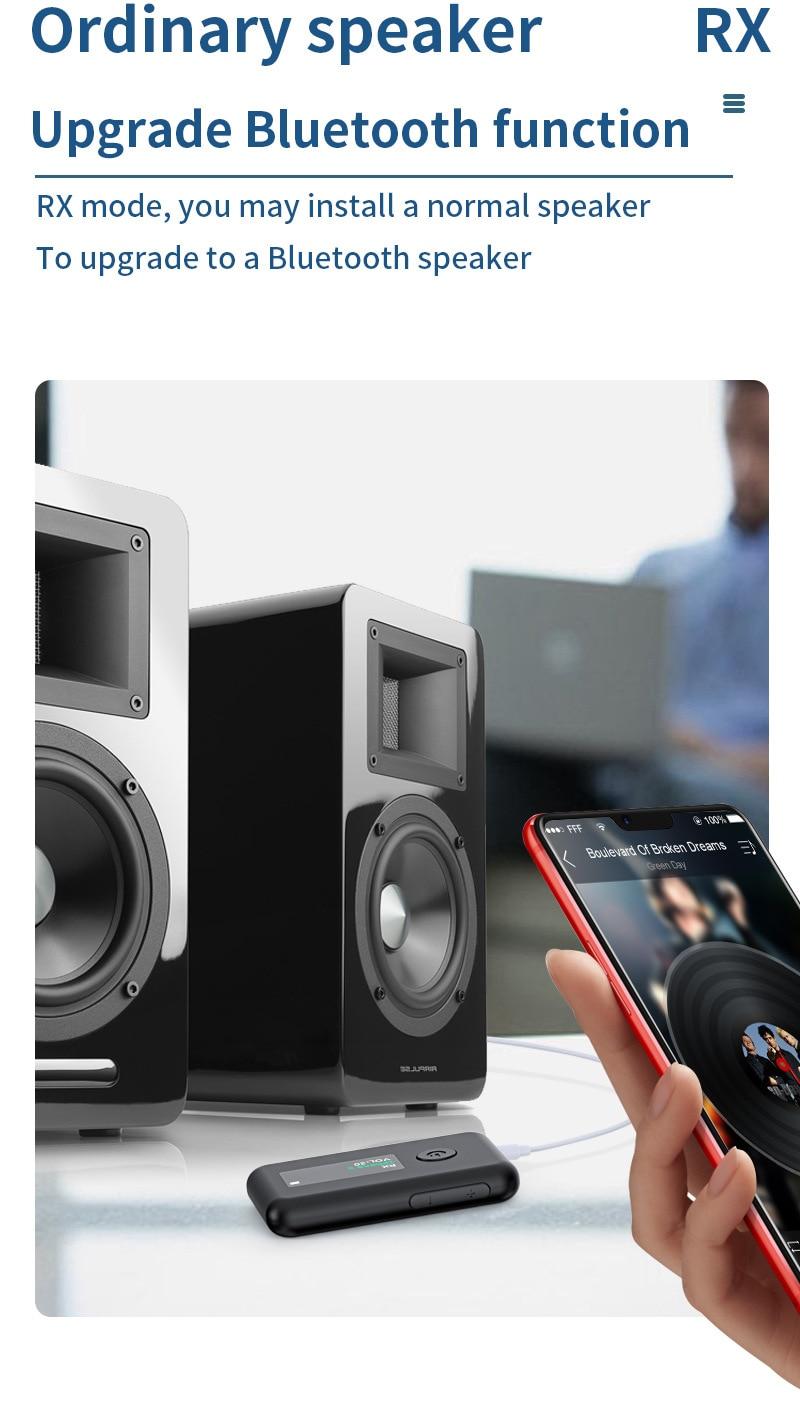 Adaptador portátil 2 en 1 con Bluetooth 5,0 receptor transmisor. pantalla LED...