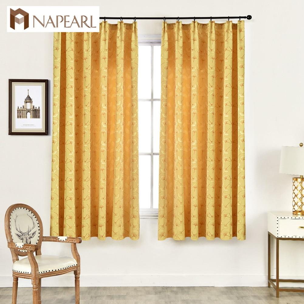 NAPEARL 1 Stück Semi Schatten Vorhänge Neue Design Moderne Vorhänge für Schlafzimmer Fenster Küche Ginkgo Jacquard Decor Band Stil