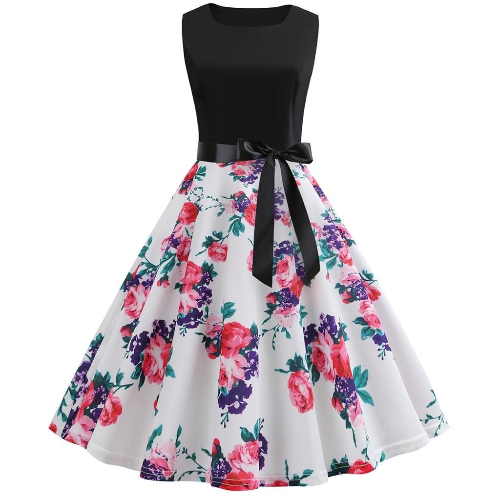 Women Vintage 1950s Retro Sleeveless O Neck Print Evening Party Prom Swing Dress Summer Dress Robe F