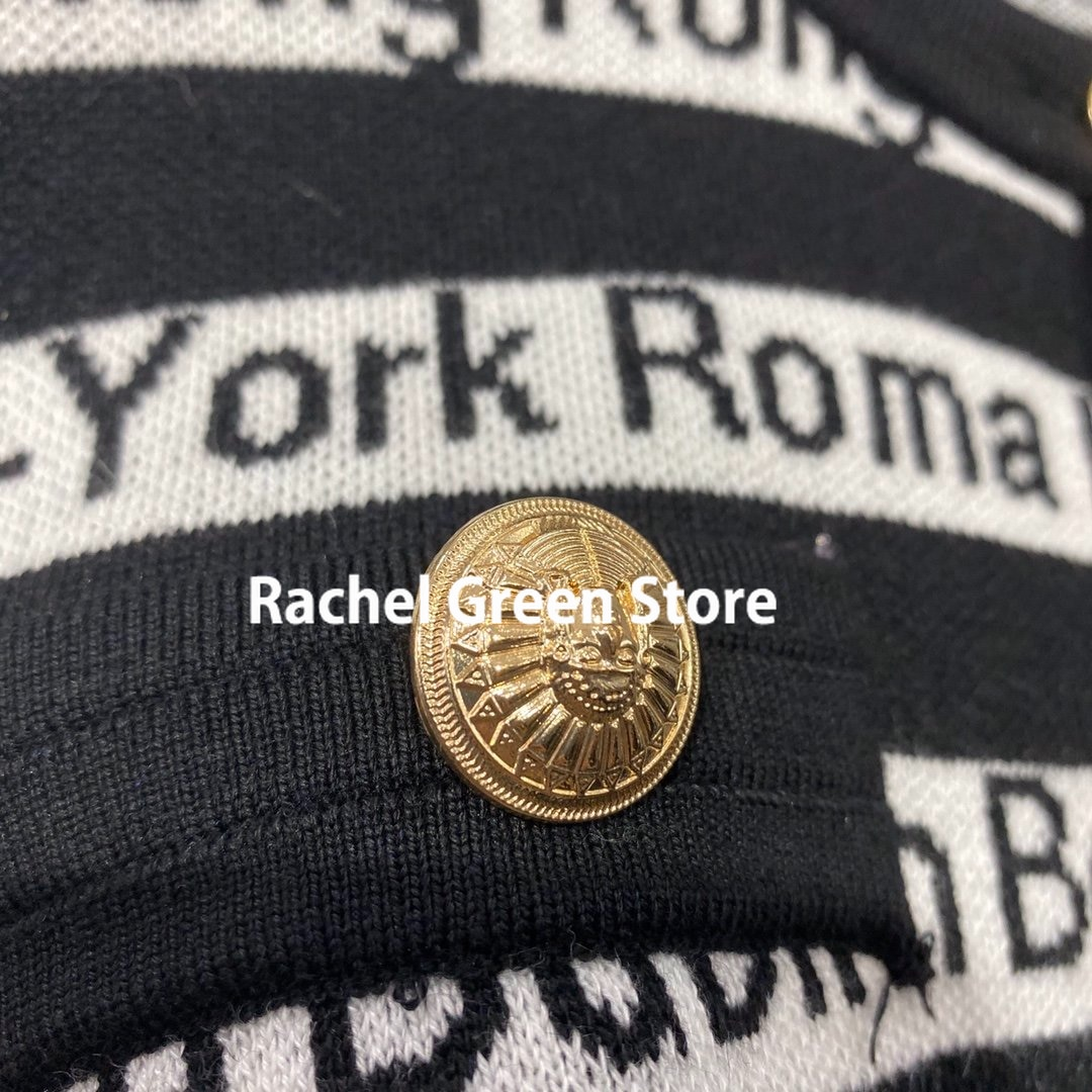 Paris designer fall 2021 sweaters for Women clothing Cardigans Knitted Lettered print Striped Metal buttons cropped cardigan enlarge