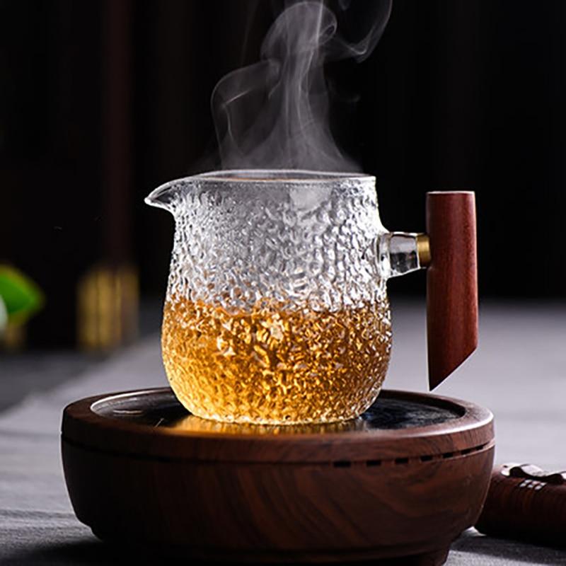 Copo justo martelo lateral copo de vidro engrossado público copo distribuidor chá kung fu conjunto chá acessórios chá vazamento mar