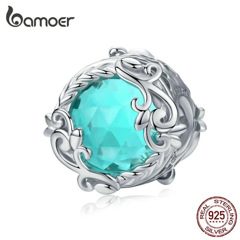 Bamoer enrolamento azul contas redondas para mulheres jóias fazendo azul cristal charme caber prata 925 jóias pulseira bsc105
