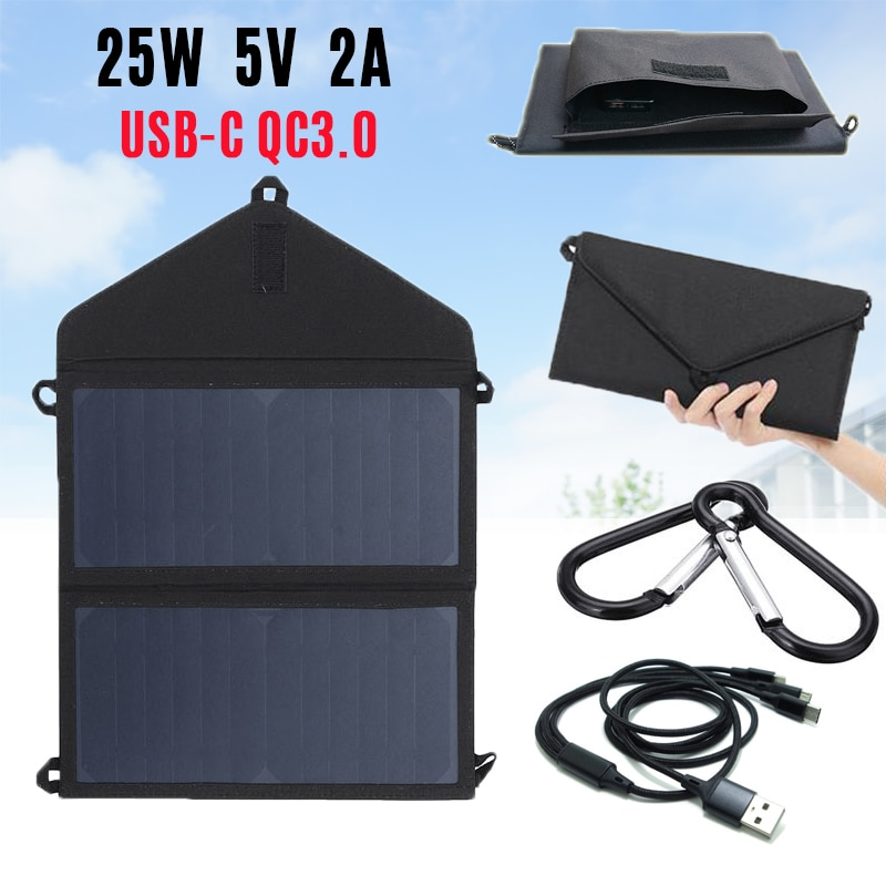 25W Solar Panels Portable Folding Foldable Sunpower Waterproof 5V/2A USB QC3.0 Solar Panel Charger for Phone Battery