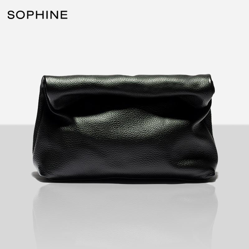Классическая женская сумка-клатч, из натуральной воловьей кожи, 2020