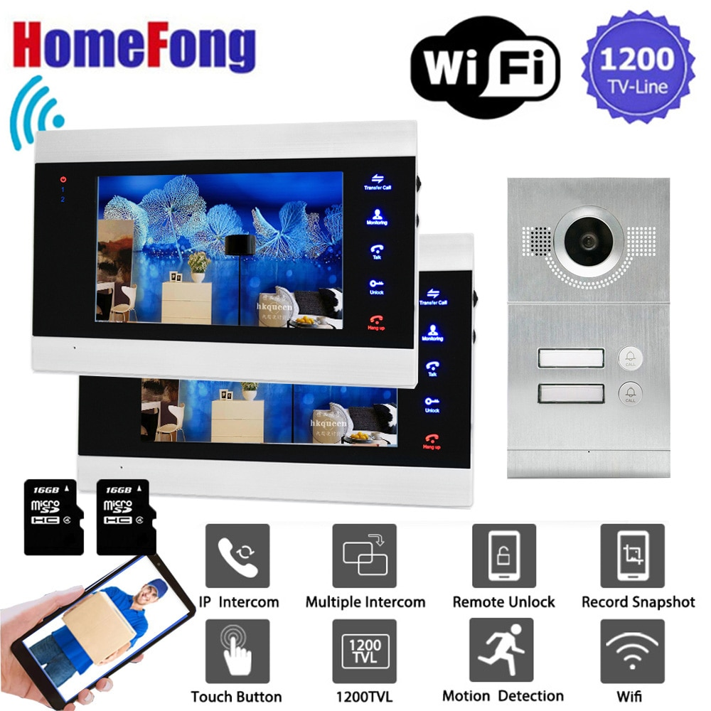 Homefong 7 Inch Wifi Video Intercom 2 Apartment Wireless Video Door Phone Doorbell Camera System 1200TVL  Motion Detection