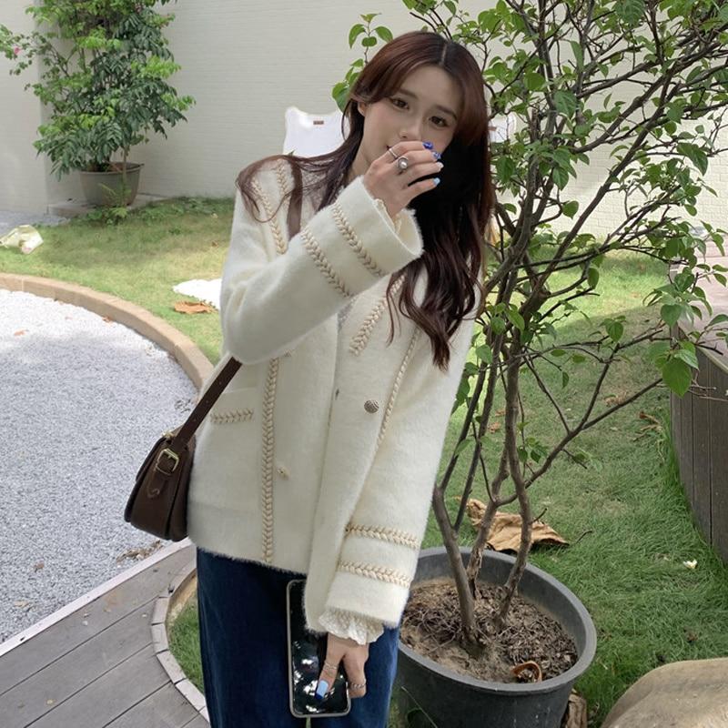 Autumn Korean Jacket New Style Small Fragrance Loose Color Contrast Thin Long Sleeve V-neck Single B
