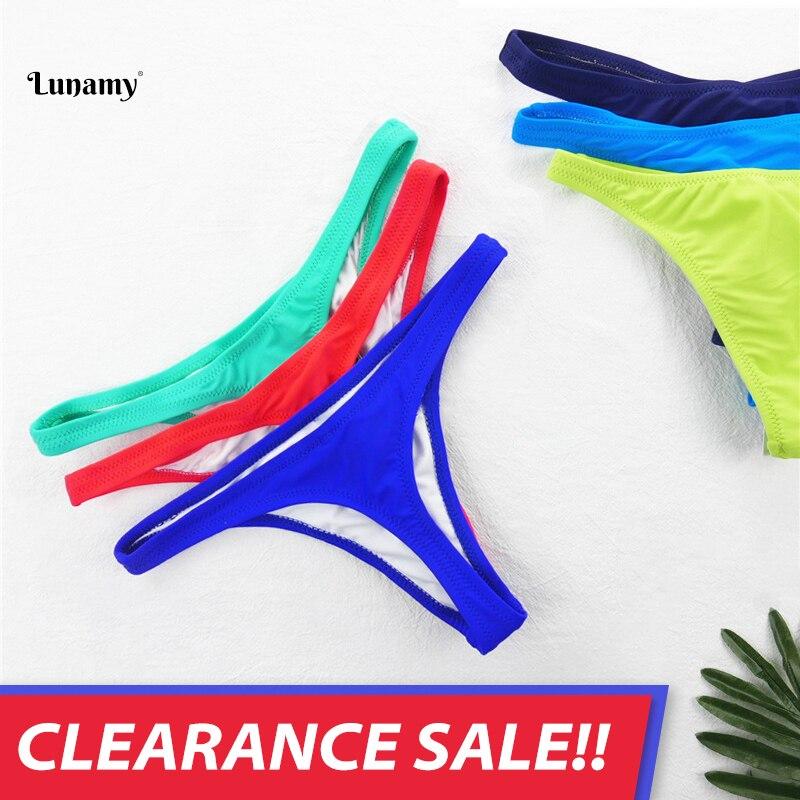 Hot Sale Colourful Lunamy Sexy Bikini Thong Swimwear Women Swimsuit Bottoms Solid Color T-back Brazi