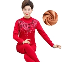 top selling product women thermal underwear middle age clothing sweater 2 piece set autumn winter plus cashmere diamond 394