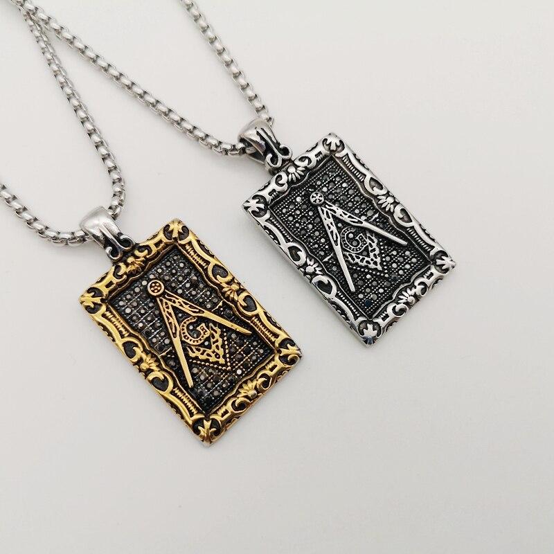 Collar con colgante de albañil negro de acero inoxidable 316 Vintage, collar ostentoso de cristal masónico BLKN0773