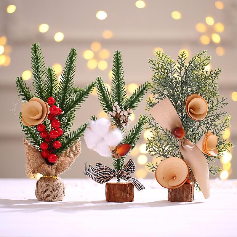Рождественские украшения, искусственные настольные 25 см мини-украшения для рождественской елки, миниатюрная Праздничная елка, Новогодний ...