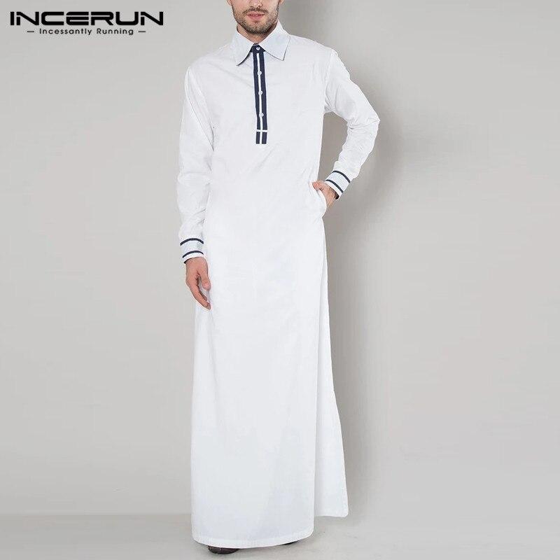 Moda árabe muçulmano kaftan elegante manga longa retalhos 2020 arábia saudita jubba thobe lapela abaya islâmico men robes incerun