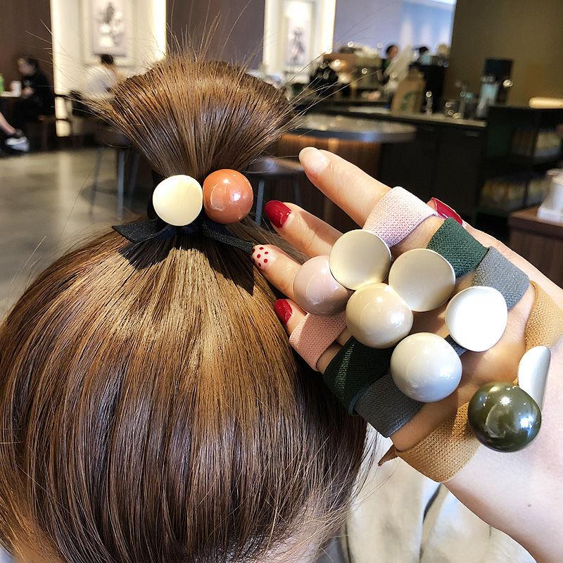 Korėjos moterų plaukų lynai su dideliu krištolo perlu, elastinga - Drabužių priedai - Nuotrauka 3