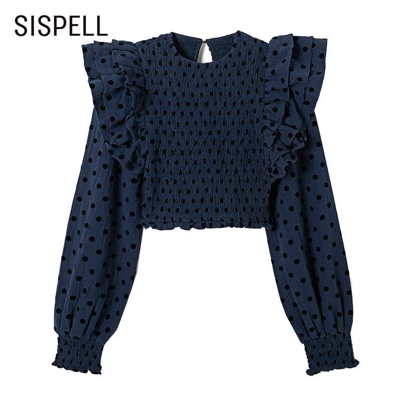 قميص نسائي فضفاض ماركة SISPELL مطبوع عليه رقبته O قميص مكشكش مرتفع الخصر فضفاض غير رسمي جديد 2021