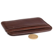 Men Wallet Slim Money Clip Credit Card Holder ID Business Mens Genuine Leather Brown Wholesale