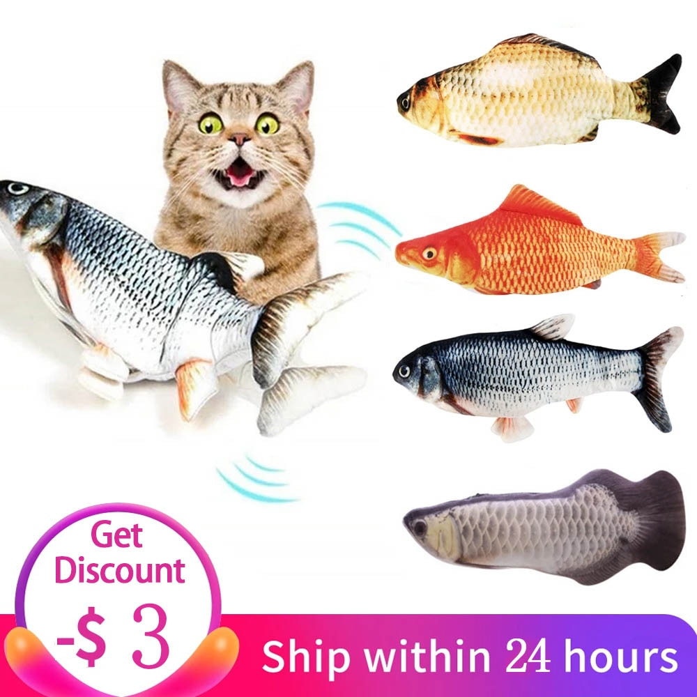 Electric Cat Toy 3D Fish USB Charging Simulation Fish Interactive Cat Toys for Cats Pet Toy cat supp