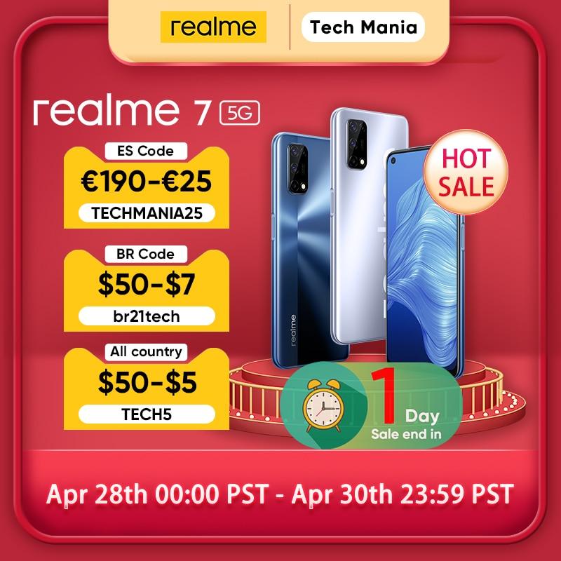AliExpress - [World Premiere In Stock]realme 7 5G Dimensity 800U 6GB 128GB 120Hz Display 48MP Camera 5000mAh Global Version 30W Dart Charger