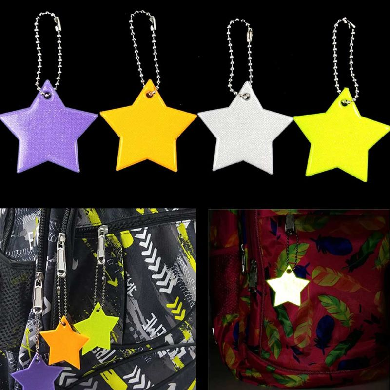 5 Pcs Child Safety Reflector Key Ring Star Ultra Reflective Gear Keychain Bag Clothing