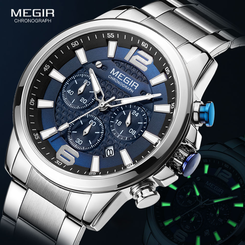 MEGIR 2020 Luxury Watches Men Top Brand Stainless Steel Waterproof Luminous Wristwatch Blue Sports Chronograph Quartz Watch Man