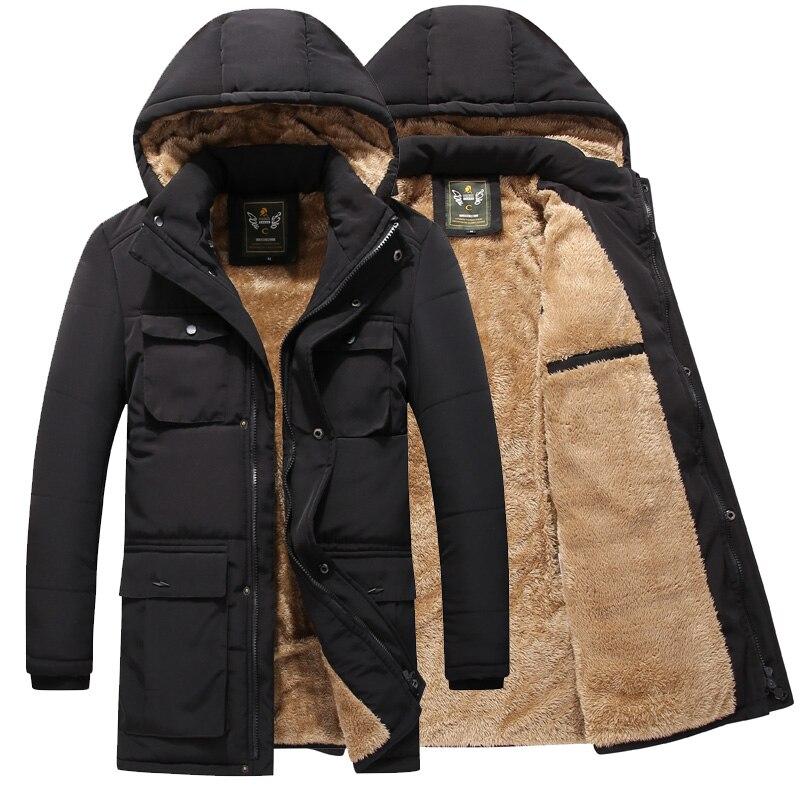 Зимняя Теплая мужская куртка, Повседневная Осенняя флисовая длинная куртка, верхняя одежда, мужская парка с капюшоном и несколькими карман...